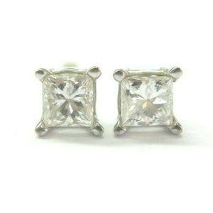 Jewelry - Fine Princess Cut Diamond White Gold Stud Earrings